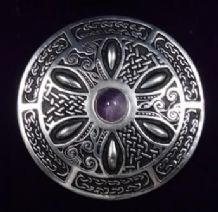 Round Celtic Wheel Brooch With Amethyst Centre